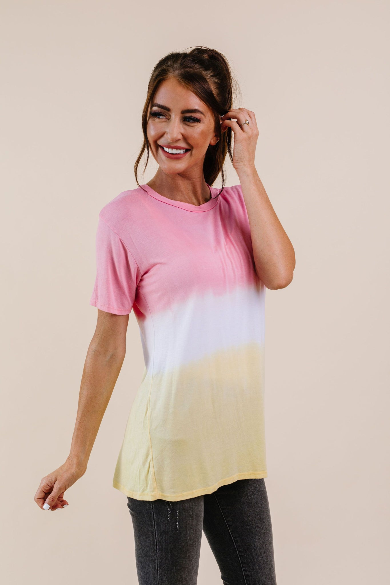 Tie Dye Color Block Tee In Coral & Yellow