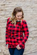 Buffalo Plaid & Stripes Half-Zip Hoodie