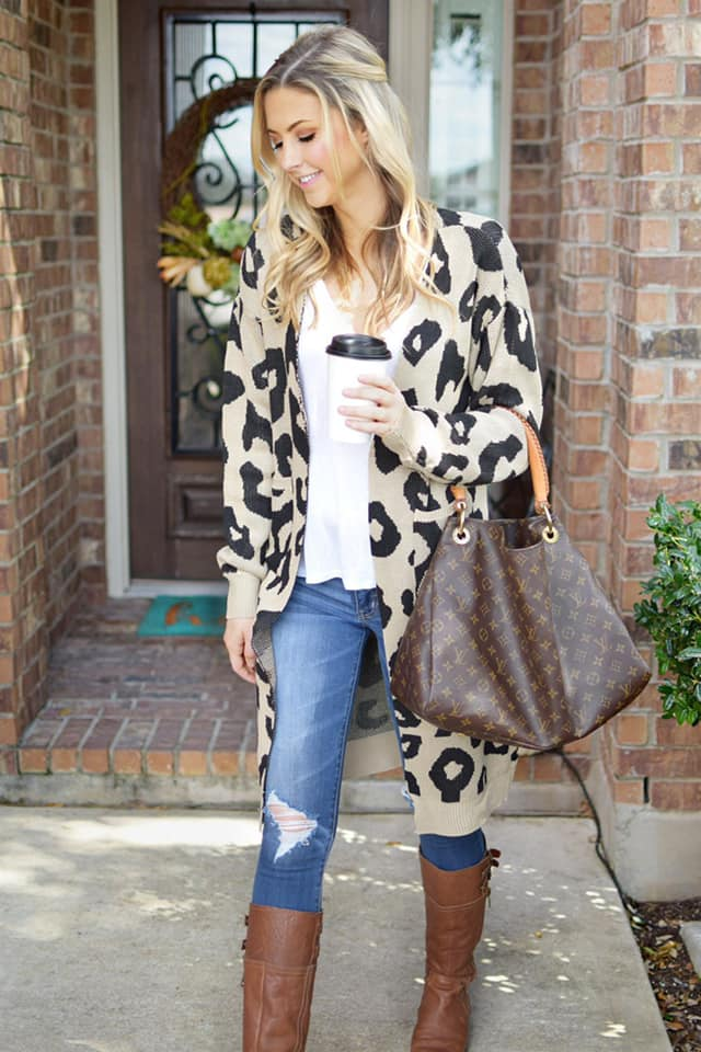 Cheetah Print Sweater Cardigan