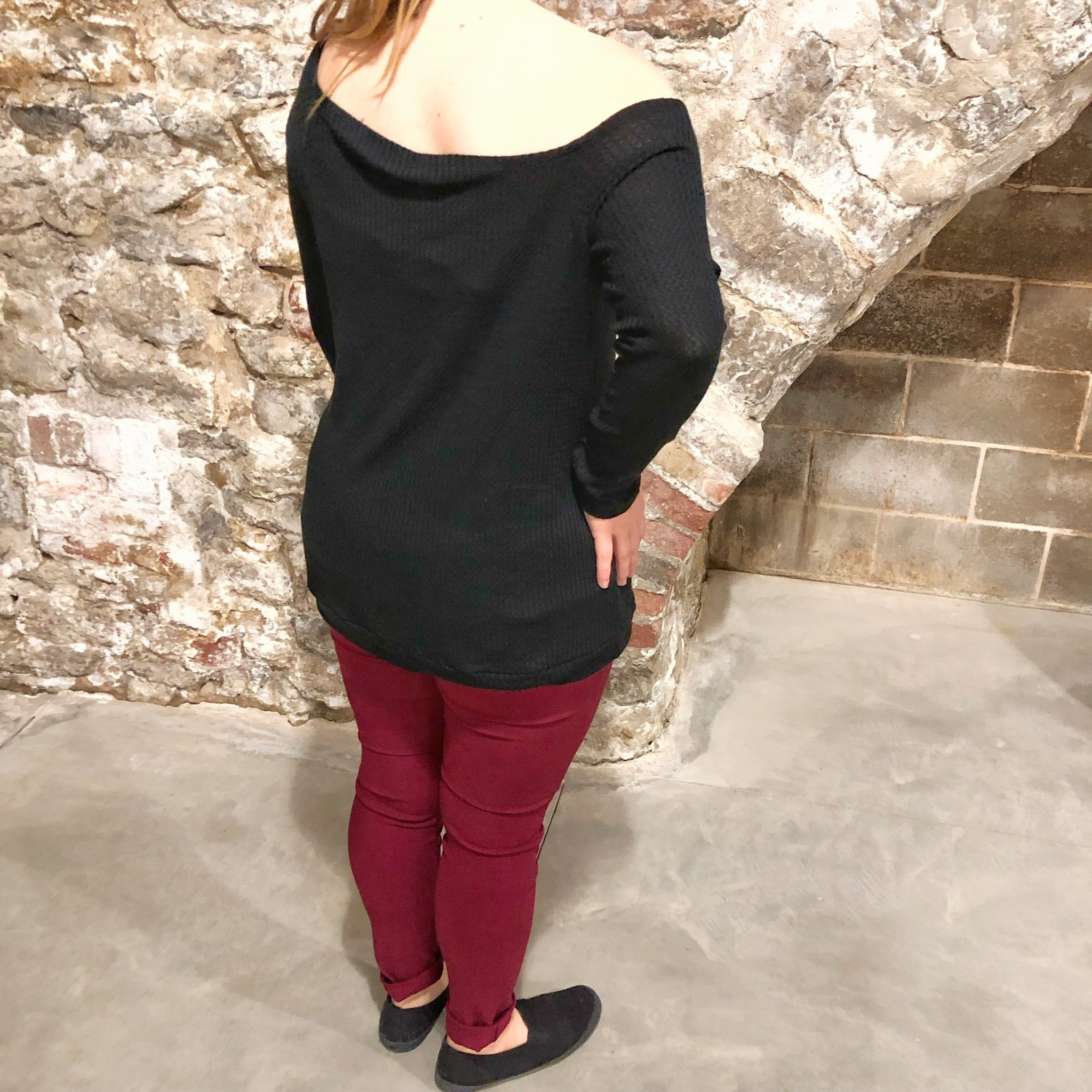 Waffle Knit Off-Shoulder Top with Thumbholes