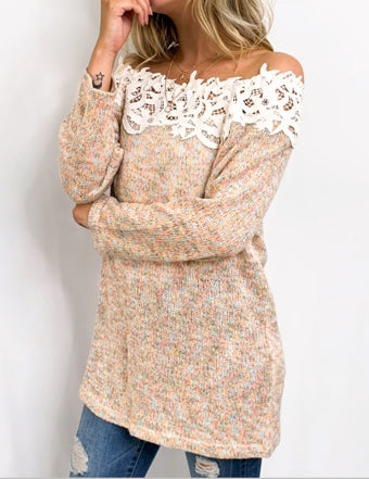 Lace Off The Shoulder Sweater