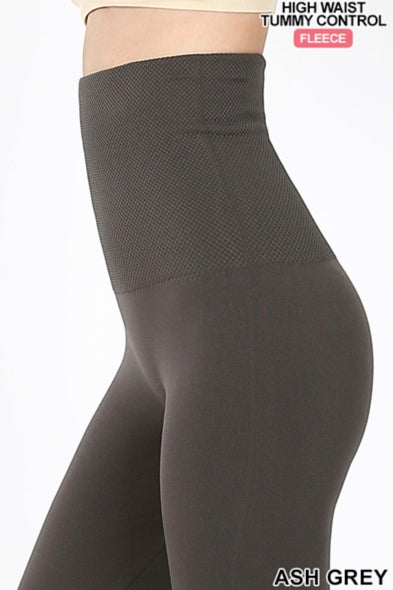 HIGH WAISTED TUMMY CONTROL FLEECE SEAMLESS LEGGINGS
