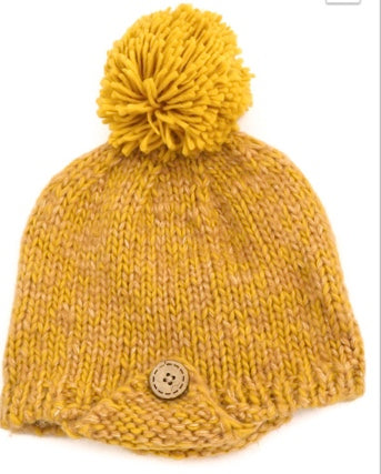 Button Knit Pom Beanie