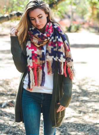 Multicolor Patchwork Woven Tassel Scarf
