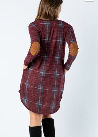 Plaid Sweater Dress with Snackholes & Elbow Patches