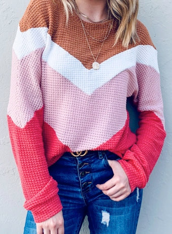 Colorblock Waffle Top
