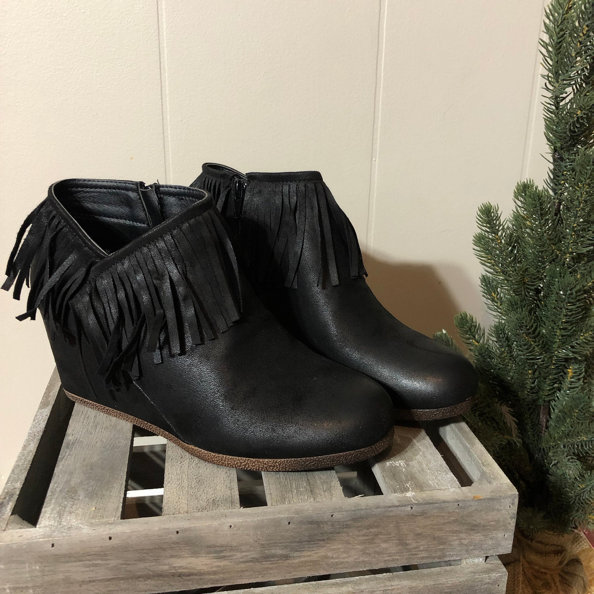 Fringe Wedge Booties