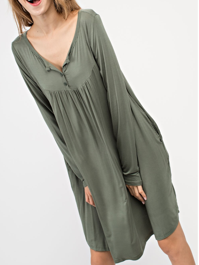 BAMBOO BUTTON DOWN TIERED FRONT POCKET DRESS