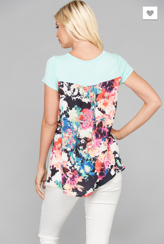 FLORAL BACK JERSEY TUNIC TOP