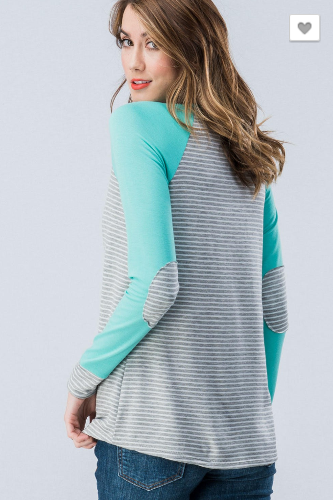 Long Sleeved Baseball Tee with Elbow Patch