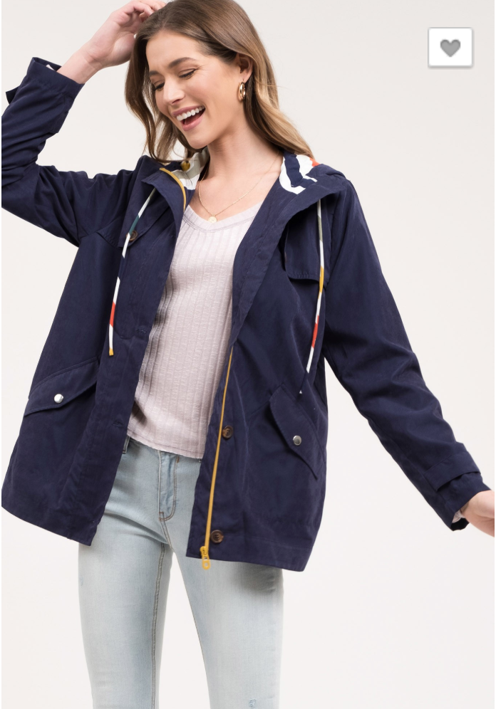 Lined Contrast Spring Jacket in Navy