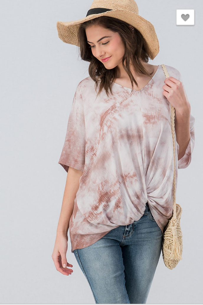 TWO TONE BRUSHED TEXTURE FRONT KNOT DOLMAN TOP