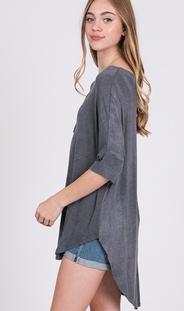 CRISSCROSS DETAIL WASHED HI LOW TUNIC TOP