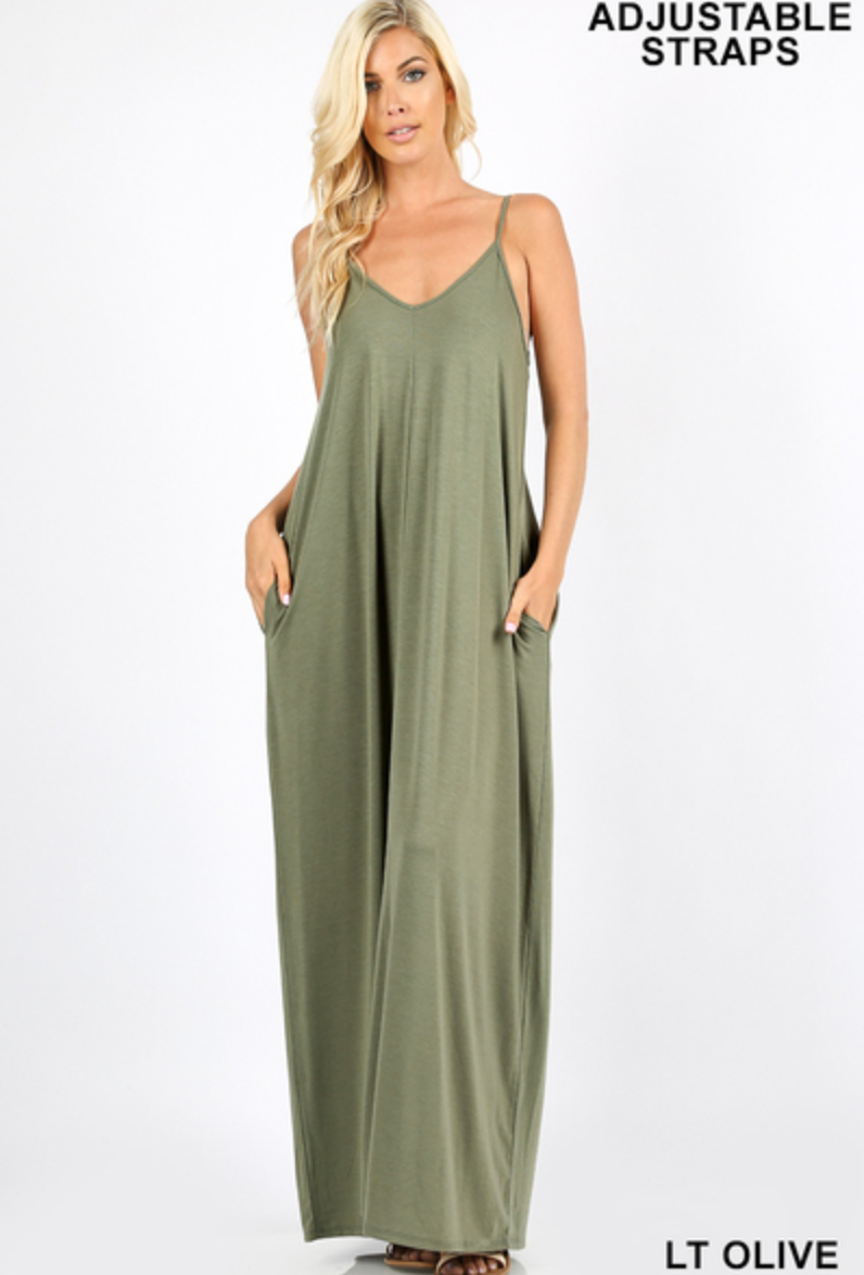 V-NECK CAMI MAXI DRESS WITH SNACKHOLES