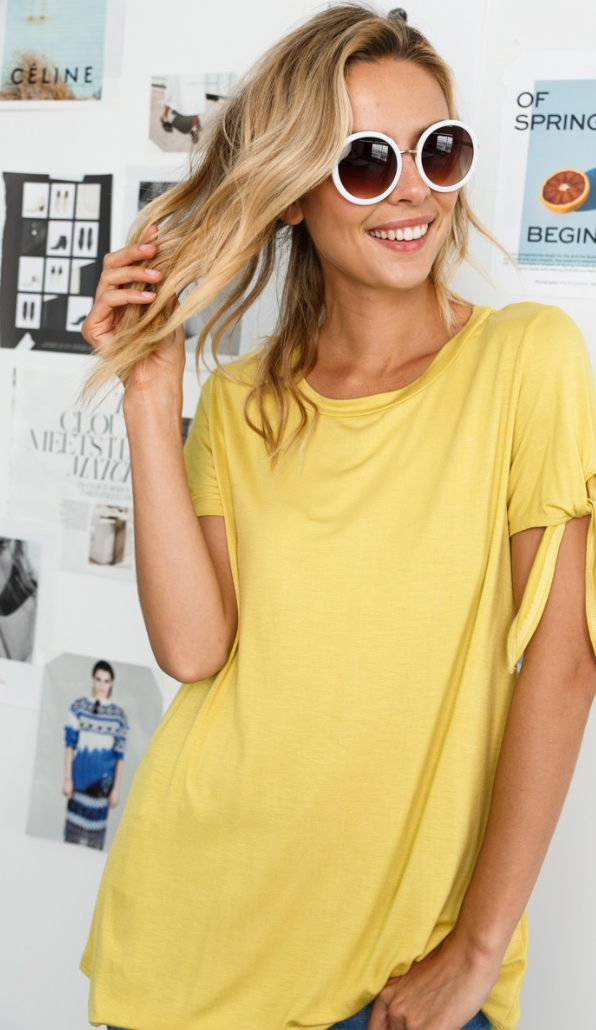 BBQ Tee- Tie Sleeve Basic Top
