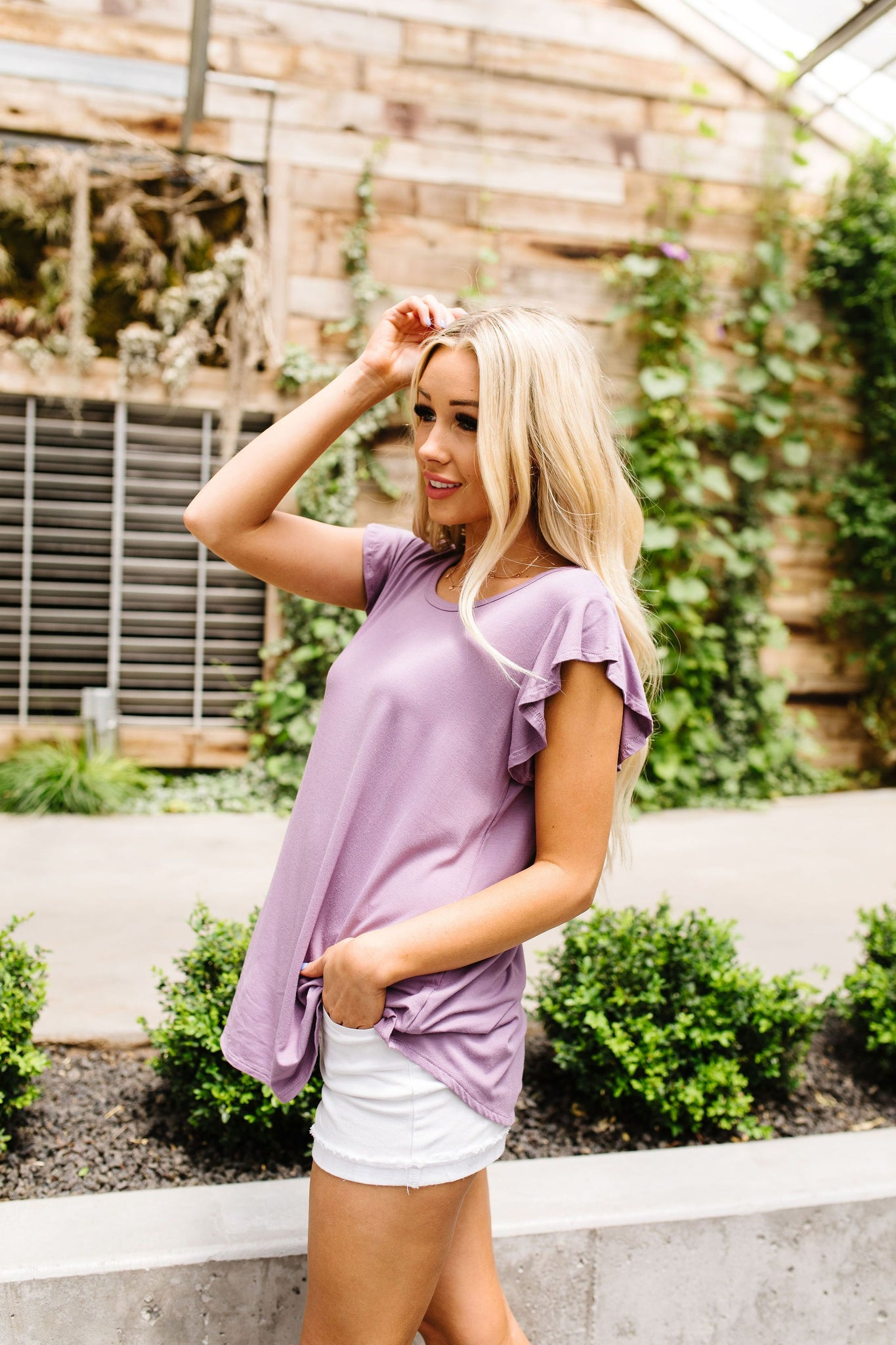 All A Flutter Lavender Top