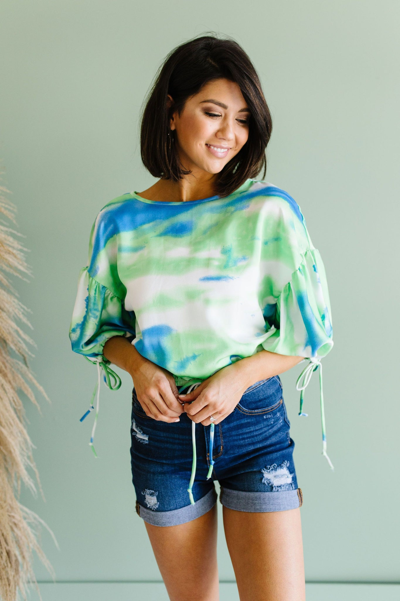 Bishop Sleeve Boho Crop Top In Turquoise & Mint
