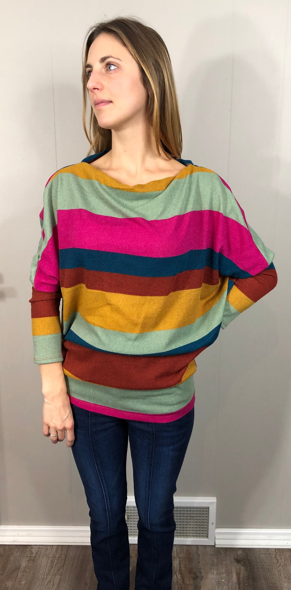Bold Striped Knit Dolman Top