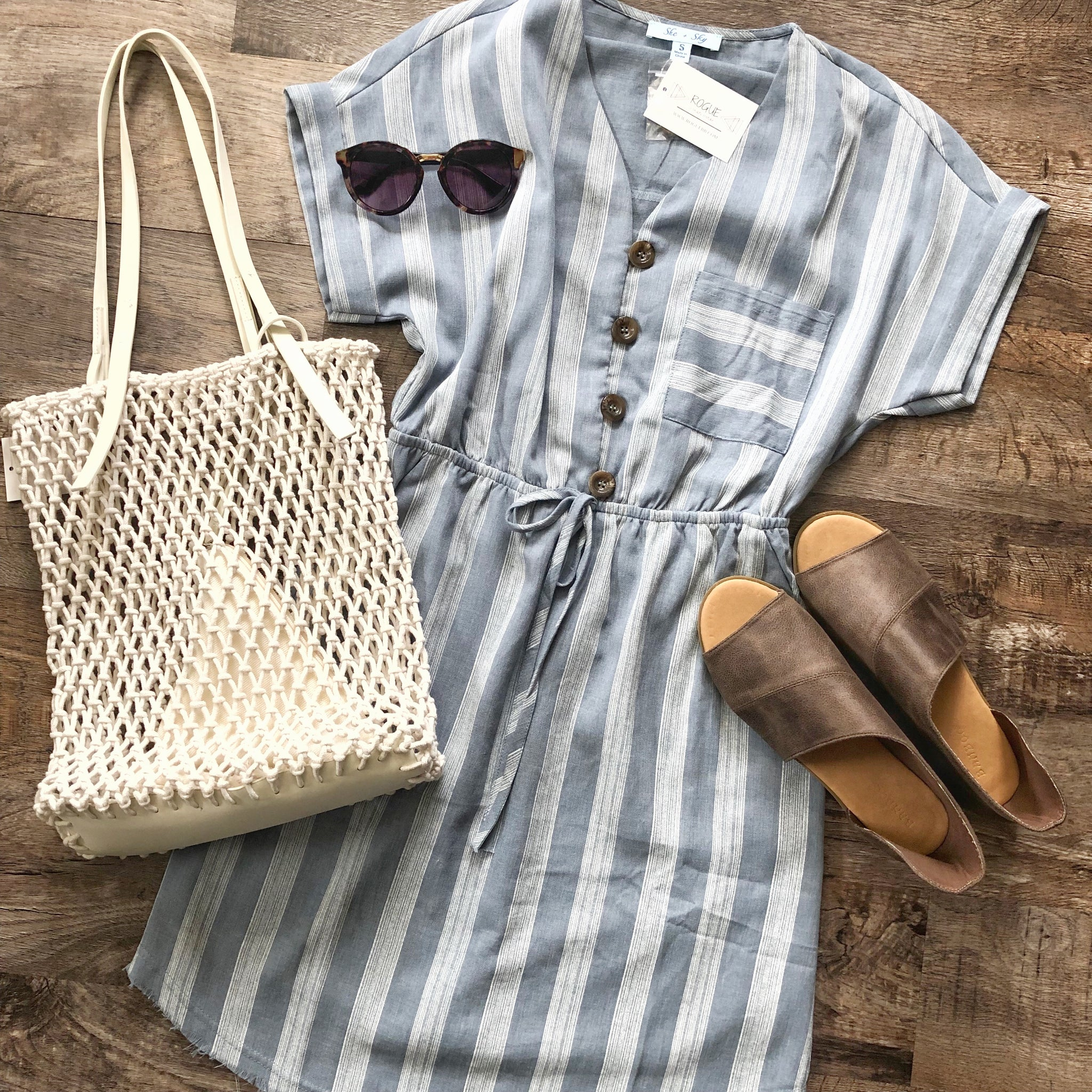 BUTTON DOWN STRIPE WOVEN DRESS