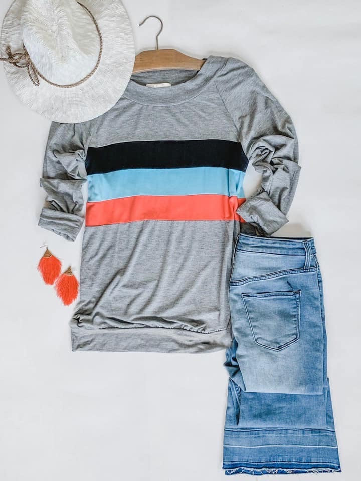 Long Sleeve Colorblock Top