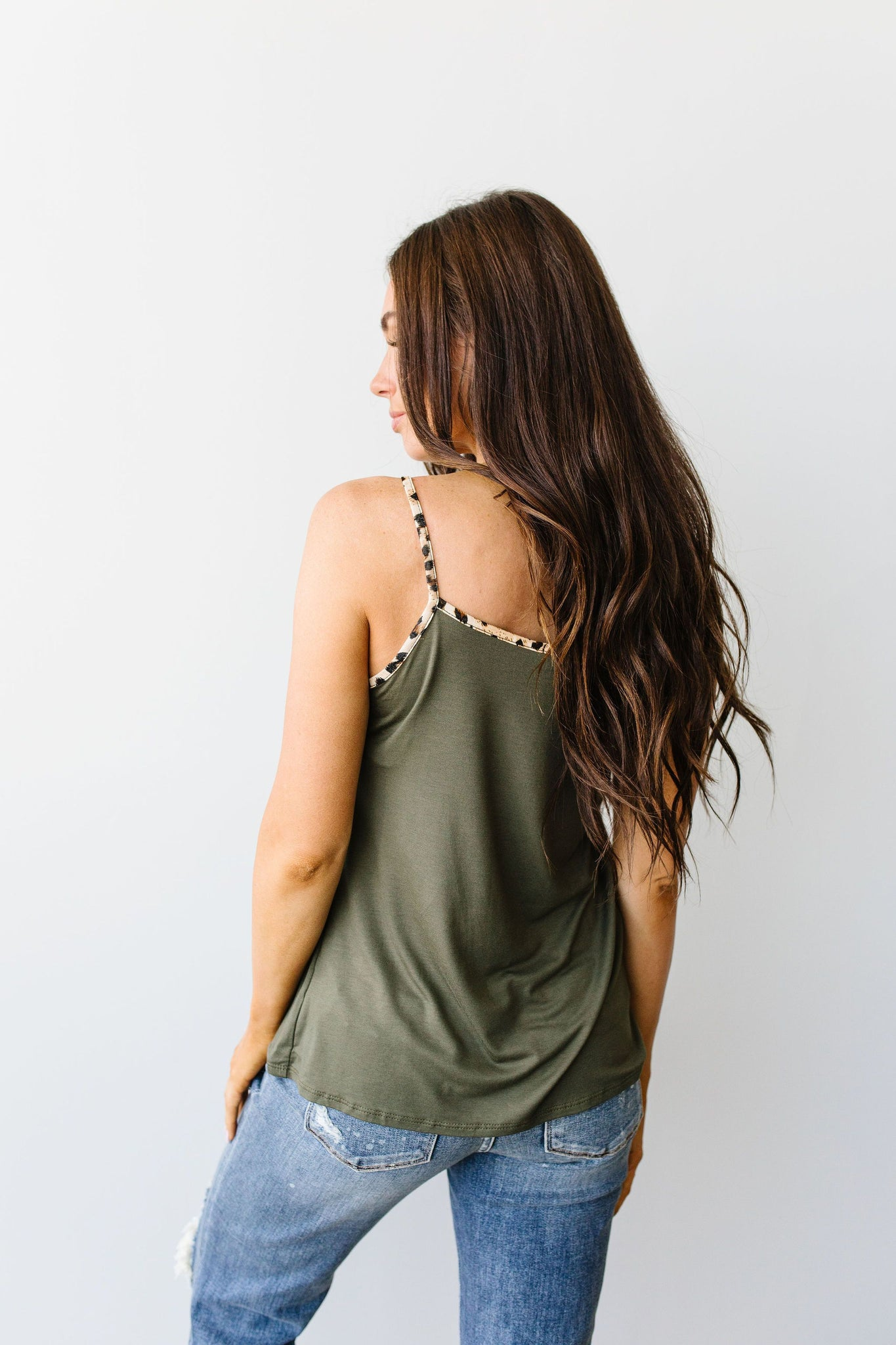 Just A Little Wild Camisole In Olive