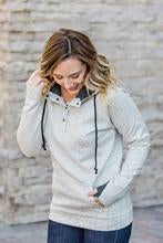 Ivory Quilted Half Button Hoodie