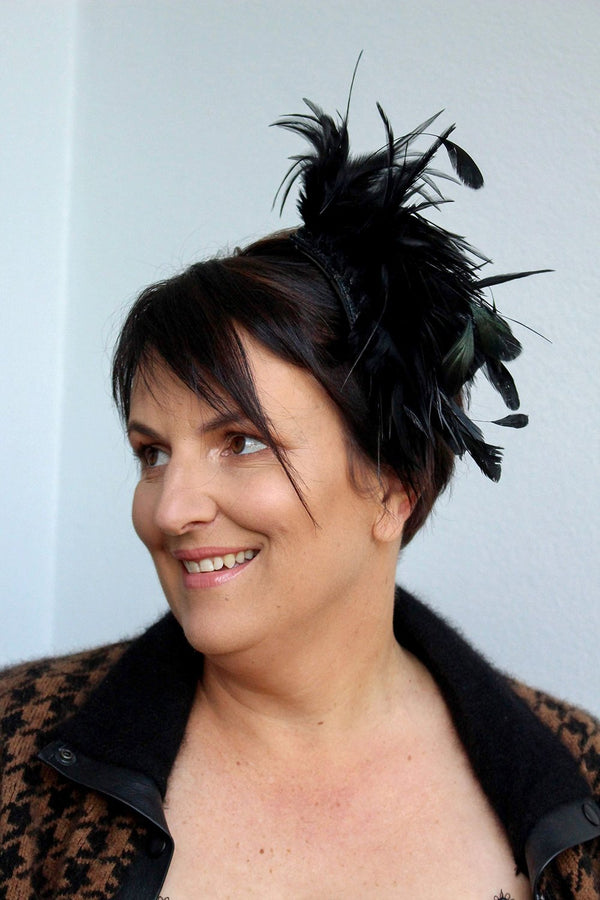 Feather Fascinator Black