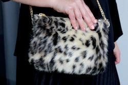 Fur and cream leopard bag