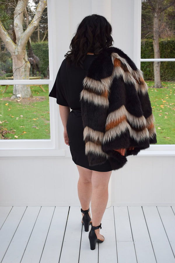 Brown, black and cream fur jacket