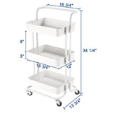Aquaterior 3 Tiers Rolling Utility Cart Mobile Trolley