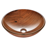 "Aquaterior 16.5"" Bathroom Tempered Glass Vessel Sink Wood Grain"