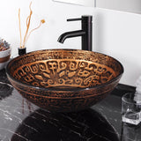 "Aquaterior 16"" Bathroom Tempered Glass Vessel Sink Totem"