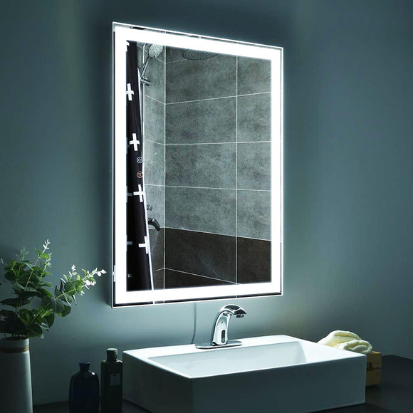 Lighted Bathroom Mirror Anti-Fog Frameless 4-Lights 32x24in