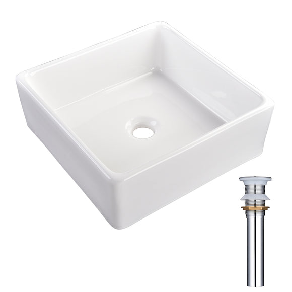 Aquaterior Square Vessel Bathroom Porcelain Sink w/ Drain 15