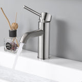 "Aquaterior Bathroom Faucet 7.5"" One-Handle Brushed Nickel Low-Arc"