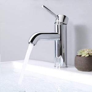 "Aquaterior Bathroom Faucet 7.5"" One-Handle Chrome Low-Arc"