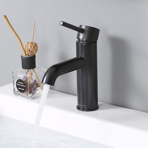 "Aquaterior Bathroom Faucet 7.5"" One-Handle Oil Rubbed Bronze Low-Arc"