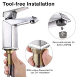 Aquaterior Bathroom Faucet Square One-Handle Brushed Nickel Low-Arc