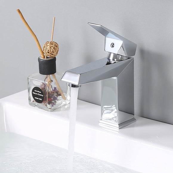 Aquaterior Bathroom Faucet Square One-Handle Chrome Low-Arc