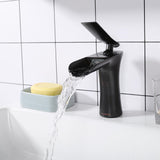 Aquaterior Waterfall Bathroom Faucet One-Handle Oil Rubbed Bronze Low-Arc