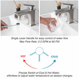 Aquaterior Bathroom Faucet One-Handle Brushed Nickel Low-Arc