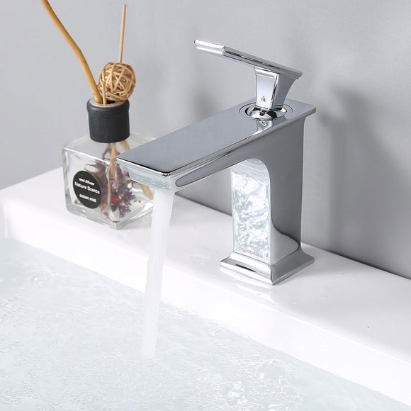 Aquaterior Bathroom Faucet One-Handle Chrome Low-Arc