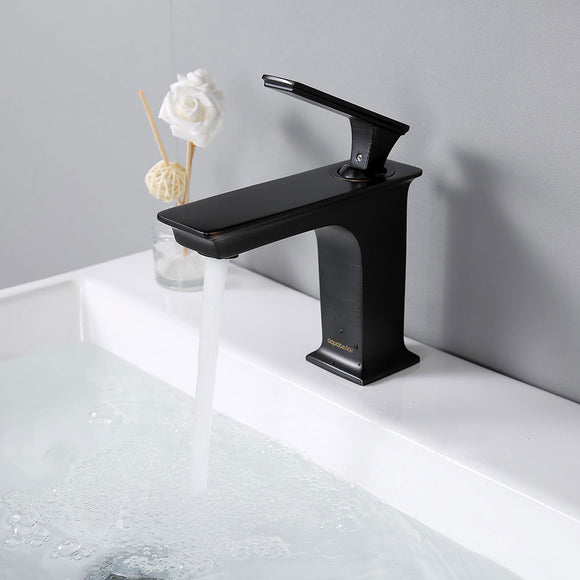 Aquaterior Bathroom Faucet One-Handle Oil Rubbed Bronze Low-Arc
