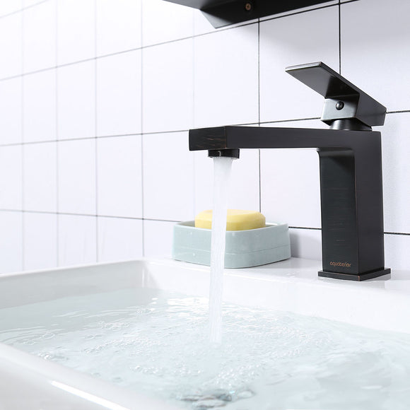 Aquaterior Bathroom Faucet One-Handle Oil Rubbed Bronze 6.4
