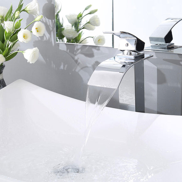 Aquaterior Waterfall Vessel Faucet Chrome One-Handle 10