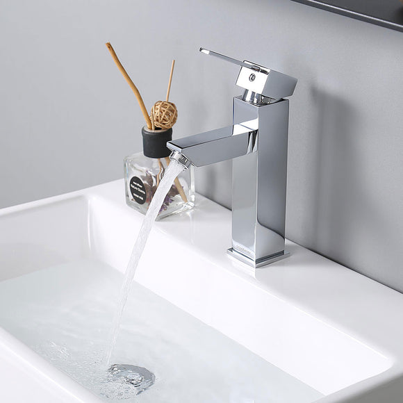 Aquaterior Single-Hole Faucet Chrome 1-Handle Square 8