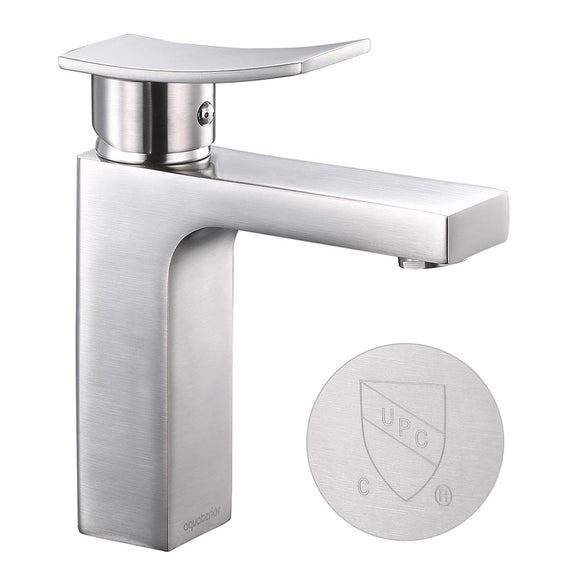 Aquaterior Single-Hole Faucet Brushed Nickel 1-Handle Square 7.5