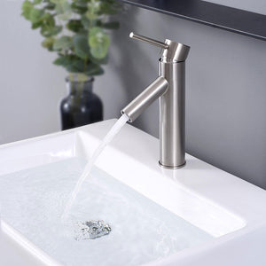 "Aquaterior Single-Hole Faucet Brushed Nickel 1-Handle 9""H"