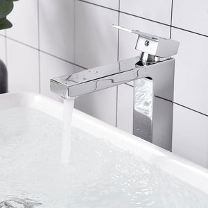 "Aquaterior Vessel Faucet Chrome 1-Handle Square 10.4""H"