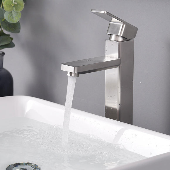 Aquaterior Vessel Faucet Brushed Nickel 1-Handle Square 11.8